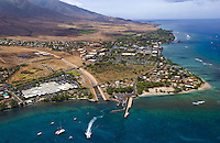 View of Lahaina town, wharf, and the Cannery Mall.