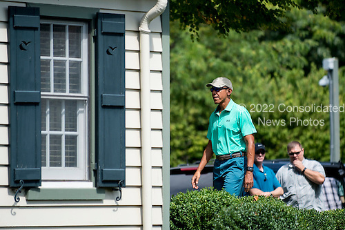 United States President Barack Obama arrives to play a round of golf at Caves Valley Golf Club in Owings Mills, Maryland, U.S., on Saturday, Sept. 10, 2016.  Caves Valley is a members owned private club that has been rated among the top 50 of America's best modern courses by GolfWeek Magazine. <br /> Credit: Pete Marovich / Pool via CNP
