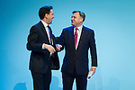 © Joel Goodman - 07973 332324 . 23/09/2013 . Brighton , UK . Ed Miliband congratulates Ed Balls , MP for Morley and Outwood and Shadow Chancellor of the Exchequer , following Mr Balls' address to the conference this afternoon (Monday 23rd September 2013) . Day 2 of the Labour Party 's annual conference in Brighton . Photo credit : Joel Goodman