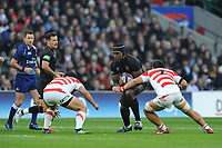 Maro Itoje of England is tackled by Atsushi Sakate and Masakatsu Nishikawa of Japan during the Quilter International match between England and Japan at Twickenham Stadium on Saturday 17th November 2018 (Photo by Rob Munro/Stewart Communications)