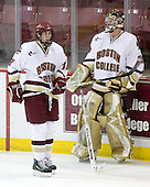 Kyle Kucharski (BC - 18), Joe Pearce (BC - 29) - The Boston College Eagles defeated the visiting Northeastern University Huskies 7-1 on Friday, March 9, 2007, to win their Hockey East quarterfinals matchup in two games at Conte Forum in Chestnut Hill, Massachusetts.