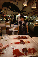 Whale meat for sale at  Tsukiji Wholesale fish market n Tokyo, Japan, Japan continues to hunt whales despite a ban on commercial whaling by the International Whaling Commission (IWC). A loophole allows Japan to kill hundreds of whales in the name of scientic research after which the meat is sold to supermarkets and restaurants through markets like Tsukiji. September 14th 2005