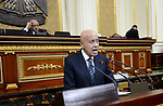 Egyptian Prime Minister Sherif Ismail delivers a speech to request imposing state of emergency, at Egyptian Parliament, in Cairo, Egypt, on October 22, 2017. Photo by Stranger