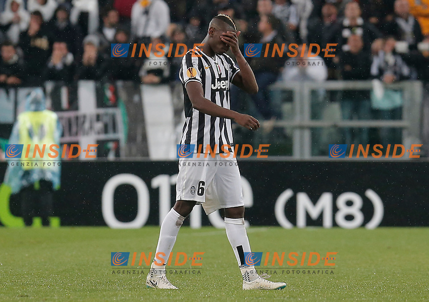 Paul Pogba Juventus delusione, dejection, Torino 1-5-2014, Juventus Stadium, Football Calcio 2013/2014 Europe League, Juventus - Benfica, Foto Marco Bertorello/Insidefoto