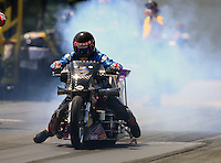 Jun 6, 2016; Epping , NH, USA; NHRA top fuel Harley motorcycle rider Jay Turner during the New England Nationals at New England Dragway. Mandatory Credit: Mark J. Rebilas-USA TODAY Sports