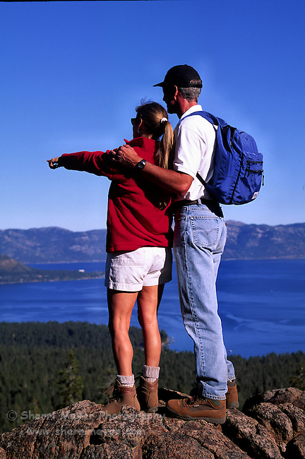 Couple viewing Lake Tahoe from the Tahoe Rim Trail