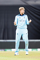 Joe Root (England) celebrates the wicket of Jason Holder (West Indies) during England vs West Indies, ICC World Cup Cricket at the Hampshire Bowl on 14th June 2019