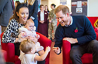 06/11/2019 - Prince Harry Duke of Sussex, speaking to members of the families of serving soldiers, during a visit to Broom Farm Community Centre in Windsor. The Duke and Duchess of Sussex attended a coffee morning with families of deployed Army personnel at the Centre. Photo Credit: ALPR/AdMedia