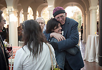 Friends and family gather for Occidental College Professor Roger Boesche's retirement celebration, April 8, 2017 on the Johnson Student Center's Branca Patio.<br /> (Photo by Marc Campos, Occidental College Photographer)