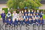 Marie Cassidy and Hilda Maher EAL with their junior infants class at St Oliver's NS, Killarney on Thursday..
