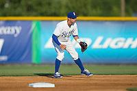 Burlington Royals second baseman Austin Bailey (7) on defense against the Bluefield Blue Jays at Burlington Athletic Park on June 29, 2015 in Burlington, North Carolina.  The Royals defeated the Blue Jays 4-1. (Brian Westerholt/Four Seam Images)