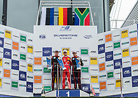 Jüri Vips (EST) of Motopark, Mick Schumacher (CHE) of Prema Theodore Racing and Jonathan Aberdein (ZAF) of Motopark on the podium during the 2018 Silverstone - FIA World Endurance Championship at Silverstone Circuit, Towcester, England on 18 August 2018. Photo by Vince  Mignott.