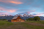 Grand Teton National Park, Wyoming: <br /> Summer dawn light on the T.A. Moulton barn at Mormon Row - Antelope Flats