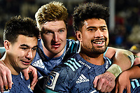 25th July 2020, Christchurch, New Zealand;  Jackson Garden-Bachop of the Hurricanes, Jordie Barrett of the Hurricanes and Ardie Savea of the Hurricanes celebrates winning the Super Rugby Aotearoa, Crusaders versus Hurricanes at Orangetheory stadium, Christchurch