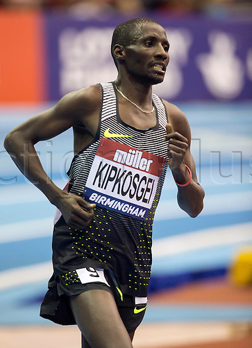 February 18th 2017,  Birmingham, Midlands, England; IAAF The Müller Indoor Grand Prix Athletics meeting; Nelson Kipkogei Cherutich (BRN) competing in the final of the Men's 5000 Metres