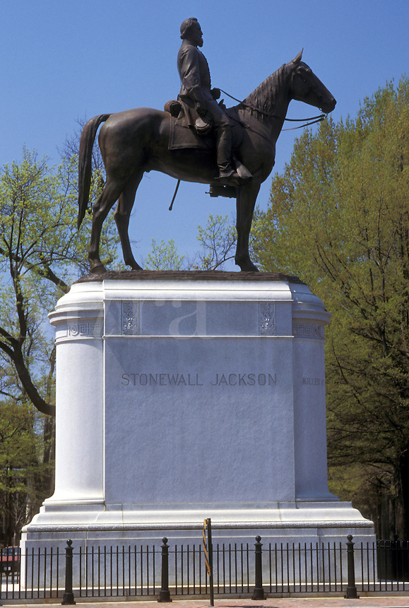 Richmond, Virginia, VA, Equestrian Statue of Stonewall Jackson on Historic Monument Avenue in Richmond.