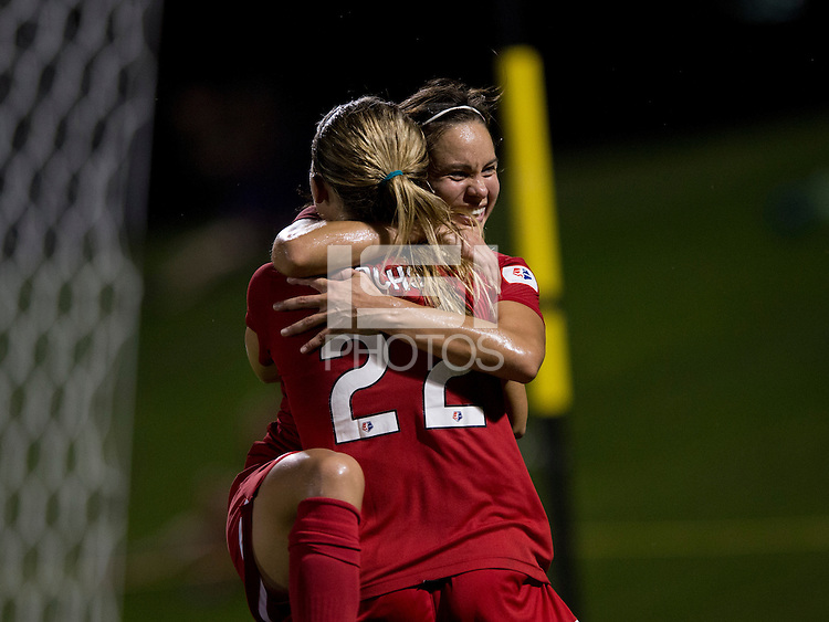 Lupita Worbis (7) of the Washington Spirit celebrates her goal with teammate Stephanie Ochs (22) during a game at the Maryland SoccerPlex in Boyds, MD.