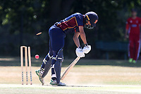 Aron Nijjar of Wanstead is bowled out by Muhammad Irfan during Wanstead and Snaresbrook CC vs Hornchurch CC, Shepherd Neame Essex League Cricket at Overton Drive on 30th June 2018