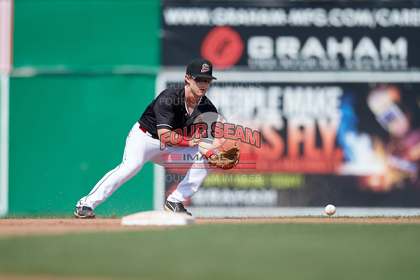 Batavia Muckdogs second baseman Luke Jarvis (8) fields a ground ball during a game against the Auburn Doubledays on September 3, 2018 at Dwyer Stadium in Batavia, New York.  Auburn defeated Batavia 8-5.  (Mike Janes/Four Seam Images)