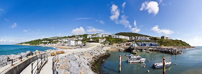 A panoramic view of Ventnor looking back towards the town from the new harbour wall. <br />
