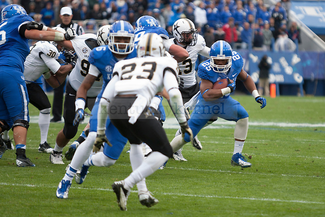 Jonathan George, junior tailback during the first half of the UK vs. Vanderbilt football game at Commonwealth Stadium, Photo by Adam Chaffins