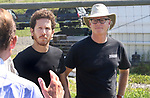 MORRIS CT. 09 Augusr 2017-080917SV06-From left, Barry Labendz, head brewer of Kent Falls Brewing, and Doug Weber, Pioneer Hops Farm in Morris, during a press conference with Sen. Richard Blumenthal, D-Conn., at Pioneer Hops Farm in Morris Wednesday. <br /> Steven Valenti Republican-American