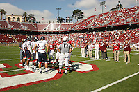 14 October 2006: Captains Wopamo Osaisai, Trent Edwards and Tim Sims during Stanford's 20-7 loss to Arizona during Homecoming at Stanford Stadium in Stanford, CA.