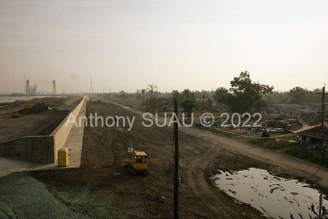 New Orleans, Louisiana.May 31, 2006..The final touches are put on the Industrial street canal (lower 9th ward) levee as hurricane season begins.