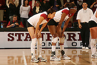 10 November 2005: Foluke Akinradewo with Jennifer Wilson during Stanford's 3-0 win over Arizona State at Maples Pavilion in Stanford, CA.