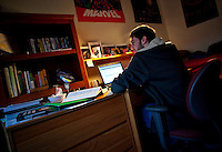 Lafayette College student Lucas Zmroczek studies in his 624 Parson St residence  on Wed March 10th