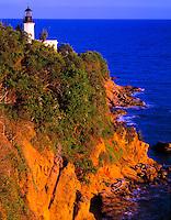 Tuna Point Lighthouse  Atlantic Ocean, Puerto Rico  Caribbean Sea  Sunset  March