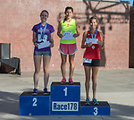 The top three women's finishers of the Reno 10 Mile Run in downtown Reno on Sunday, August 13, 2017.