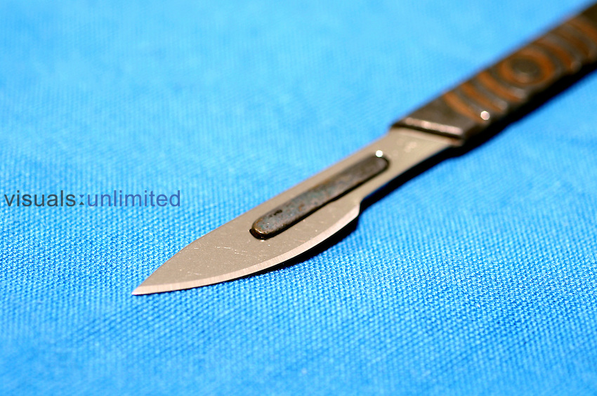 Close up of a scalpel...A scalpel is a very sharp knife used for surgery. Royalty Free