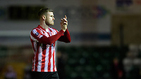Lincoln City's Michael O'Connor applauds the fans at the final whistle<br /> <br /> Photographer Chris Vaughan/CameraSport<br /> <br /> Emirates FA Cup First Round - Lincoln City v Northampton Town - Saturday 10th November 2018 - Sincil Bank - Lincoln<br />  <br /> World Copyright © 2018 CameraSport. All rights reserved. 43 Linden Ave. Countesthorpe. Leicester. England. LE8 5PG - Tel: +44 (0) 116 277 4147 - admin@camerasport.com - www.camerasport.com