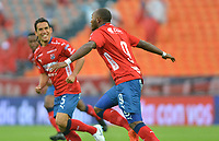 MEDELLIN- COLOMBIA, 24-03-2019 .Diego Erazo jugador del Independiente Medellín celebra después de anotar un gol al  Envigado  durante partido por la fecha 11 de La Liga Aguila I 2019 ,jugado en el estadio Atanasio Girardot de la ciudad de Medellín / Diego Erazo player of Independiente Medellin celebrates after scoring the goal agaisnt of Envigado during match for the date 11 as part Aguila League I 2019 between Independiente Medellin  and Envigado played at Atanasio Girardot stadium in Medellin  city.  Photo: VizzorImage / León Monsalve  / Contribuidor