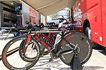 Cofidis team Kuota bikes lined up at the team bus before Stage 1 of the La Vuelta 2018, an individual time trial of 8km running around Malaga city centre, Spain. 25th August 2018.<br /> Picture: Eoin Clarke | Cyclefile<br /> <br /> <br /> All photos usage must carry mandatory copyright credit (© Cyclefile | Eoin Clarke)