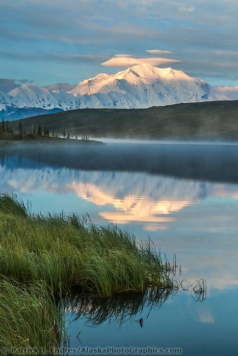 Early morning sunrise on Denali and Wonder Lake, Denali National Park, Interior, Alaska.