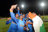 A victorious Indian U19 Cricket Team take a selfie with the trophy after their win over Australia during the ICC U-19 Cricket World Cup 2018 Finals between India v Australia, Bay Oval, Tauranga, Saturday 03rd February 2018. Copyright Photo: Raghavan Venugopal / © www.Photosport.nz 2018 © SWpix.com (t/a Photography Hub Ltd)