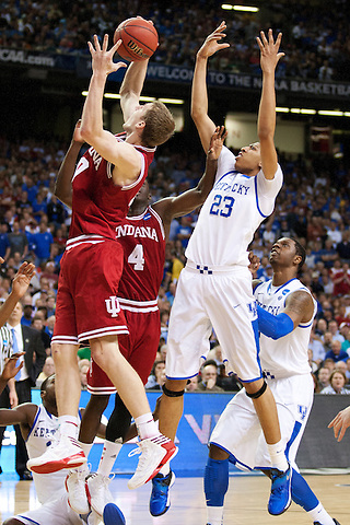 Indiana Hoosiers forward Cody Zeller grabs a rebound from Kentucky Wildcats forward Anthony Davis. Kentucky faced Indiana during the Sweet 16 round of the 2012 NCAA Tournament at the Georgia Dome in Atlanta,  March 23, 2012. Photo by Derek Poore