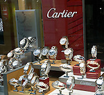 Cartier watches shop window display