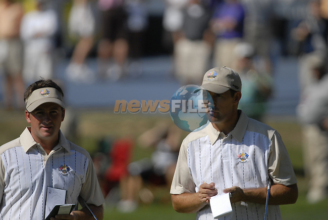 European Team members Padraig Harrington and Graeme McDowell on the 13th green during Practice Day1 of the 37th Ryder Cup at Valhalla Golf Club, Louisville, Kentucky, USA, 17th September 2008 (Photo by Eoin Clarke/GOLFFILE)