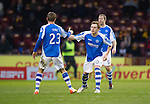 Motherwell v St Johnstone.....20.01.13      SPL.Liam Craig celebrates his goal with Rowan Vine.Picture by Graeme Hart..Copyright Perthshire Picture Agency.Tel: 01738 623350  Mobile: 07990 594431