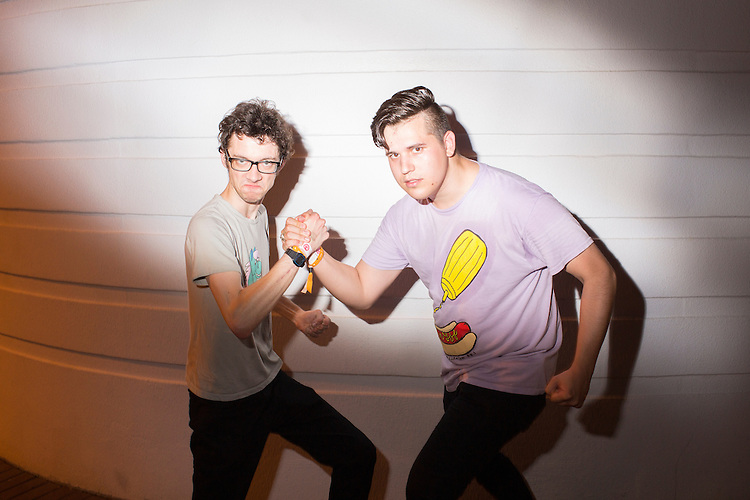 Durham, North Carolina - Thursday May 19, 2016 - Matt Rana, left, and Benjamin Doherty, both attending Moogfest for Clemson radio station WSBF-FM pose for a photo after attending the UV Boi performance at The Armory Thursday night during Moogfest in Durham, NC.
