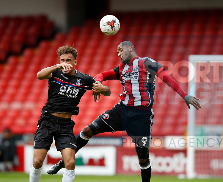 Leon Clarke of Sheffield Utd gets his head on a high ball during the Professional Development U23 match at Bramall Lane, Sheffield. Picture date 4th September 2017. Picture credit should read: Simon Bellis/Sportimage