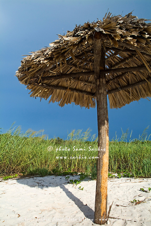 Wooden parasol on beach with tussock grass, Cayo Jutias, Cuba.