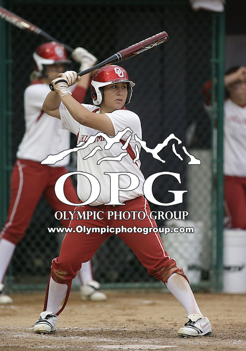 28 May 2010:  Oklahoma Sooners second baseman #4 Amber Flores sets up in the batters box against Washington.  Washington defeated Oklahoma 3-0 in the second game of the NCAA Super Regional at Husky Softball Stadium in Seattle, WA.
