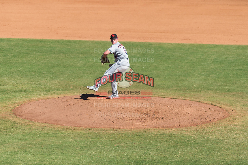 Scottsdale Scorpions relief pitcher Trent Thornton (21), of the Houston Astros organization, delivers a pitch during an Arizona Fall League game against the Peoria Javelinas at Peoria Sports Complex on October 18, 2018 in Peoria, Arizona. Scottsdale defeated Peoria 8-0. (Zachary Lucy/Four Seam Images)