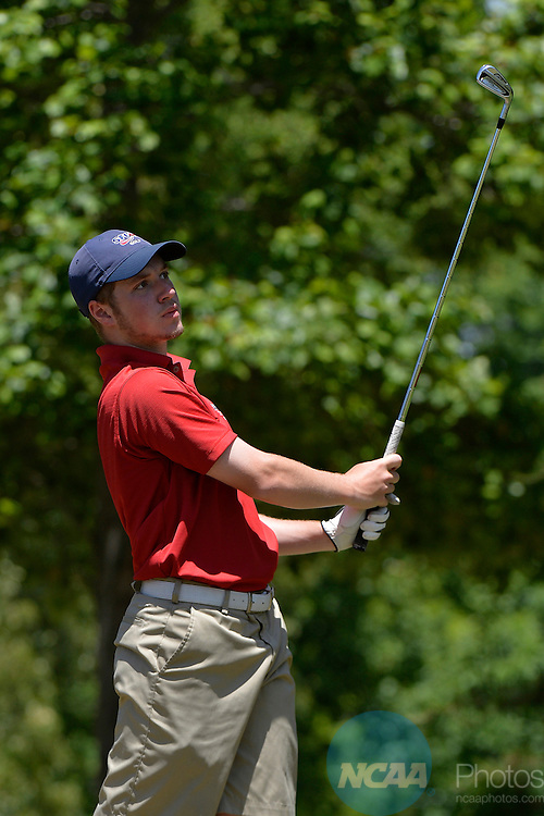 20 MAY 2015:  Kevin Vigna of Simon Fraser watches his tee shot during the Division II Men's Individual Golf Championship held at the Rock Barn Golf & Spa in Conover, NC. Grant Halverson/NCAA Photos