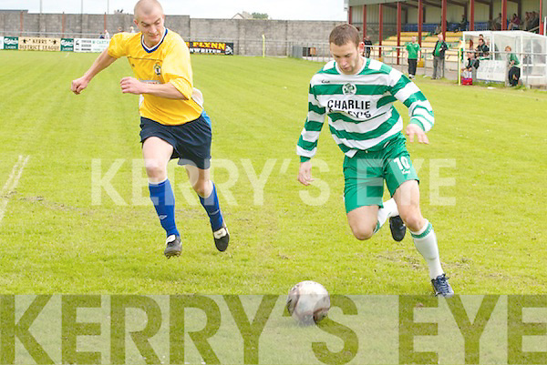 You need macs. No, not for the weather. Killarney.Celtics Peter McCarthy gets in his.cross just before Currans John McGaley can.reach the ball in the semi-final of the Premiership.at Mounthawk Park, Tralee, on Sunday.