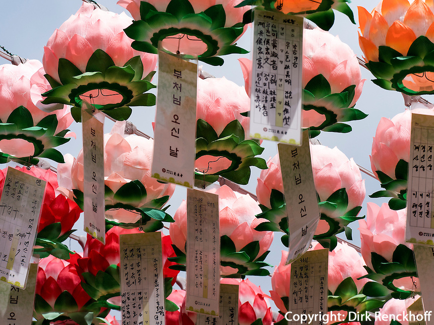 Aufh&auml;ngen von Votivzetteln bei Buddha's Geburtstag im Beomosa Tempel bei Busan, Gyeongsangnam-do, S&uuml;dkorea, Asien<br /> votive notes and decoration at Buddha's birthday, buddhist temple Beomosa near Busan,  province Gyeongsangnam-do, South Korea, Asia